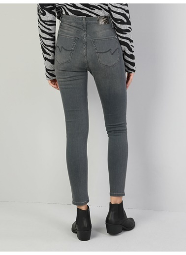 Colin's 760 Dıana Yüksek Bel Dar Paça Super Slim Fit Gri Kadın Jean Pantolon İndigo